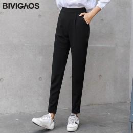 BIVIGAOS 2018 wiosna lato nowy panie koreański OL czarne spodnie Harem oddychające cienkie na co dzień ołówek spodnie proste spo