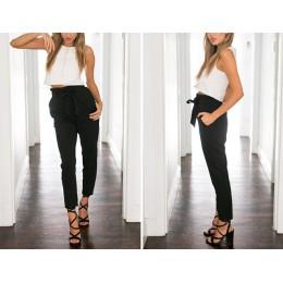 2019 nowa marka wysokiej elastyczny pas Harem spodnie kobiety wiosna lato moda dziewiątego spodnie kobiet urząd Lady czarne spod