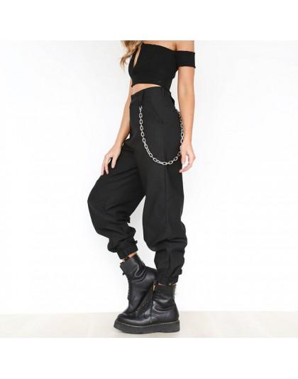 Damskie łańcuchy dla kobiet na spodnie czarne wysoka talia Hip Hop luźny