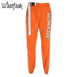 Waatfaak na co dzień spodnie ołówkowe z łączonego materiału wysokiej talii klamra pas spodnie kobiety pomarańczowy kieszeń na za