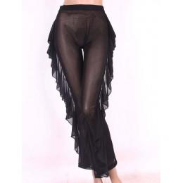 Nowy Sexy wzburzyć kobiety plaża spodnie Mesh Sheer szerokie spodnie nogi przezroczystego przezroczystego przezroczystego szkła