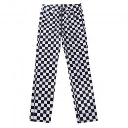 InstaHot Plaid Zipper w kratkę proste spodnie damskie moda na co dzień Slim kieszenie długie spodnie czarny biały ołówek Pantalo