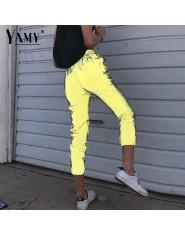 Luźne sportowe joggery damskie Odblaskowe z wysokim stanem spodnie dresowe
