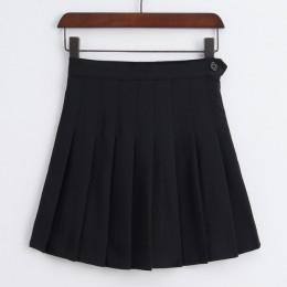 Modna trapezowa mini spódniczka damska z wysokim stanem ze spodenkami plisowana stylowa elegancka