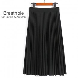 Aonibeier moda damska wysokiej talii plisowana jednolity kolor długość elastyczna spódnica promocje Lady czarny różowy, na co dz