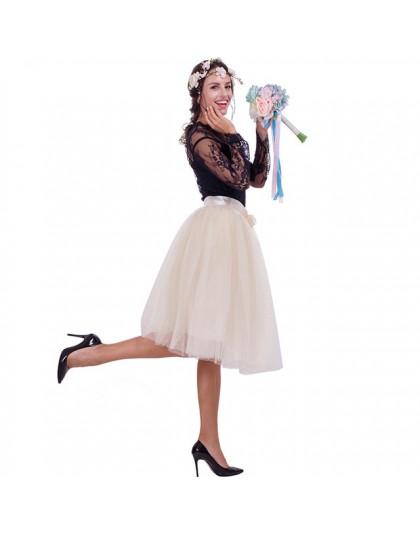 6 warstw 65 cm moda spódnica tiulowa plisowane spódniczki tutu kobiet Lolita halka druhna Vintage spódnica trzy czwarte jupiter