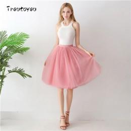 5 warstw 65 cm Midi Tulle spódnica Gothic wysokiej talii plisowana spódnica kobiet 2019 lato faldas jupiter femme saia spodnica