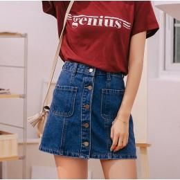 Denim spódnica wysokiej talii linii Mini spódnice kobiety 2018 letnie nowe produkty jeden przycisk kieszenie niebieski Jean spód