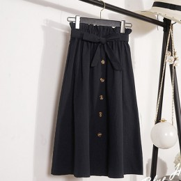 Lato jesień spódnice damskie 2018 Midi do kolan koreański elegancki guzik wysokiej spódniczka z wysokim stanem kobiet plisowana