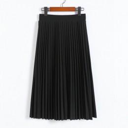 Wiosna i jesień nowa moda damska wysoka talia plisowana jednolity kolor pół długość elastyczna spódnica promocje Lady czarny róż