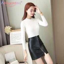Aelegantmis wiosna lato dorywczo PU skóra spódnica kobiety elegancki zamek Mini-line spódnica Lady Skinny wysokiej talii spódnic