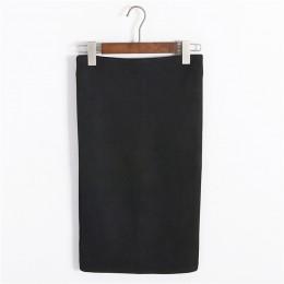 Wielu kolorach 2017 kobiety spódnica zima zamszowe stałe odzież robocza pakiet Hip ołówek spódnica trzy czwarte jesień zima Body