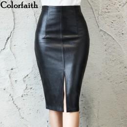 Colorfaith 2018 kobiety PU skórzane spódnica trzy czwarte jesień zima panie pakiet Hip z przodu lub z tyłu szczelina spódnica oł