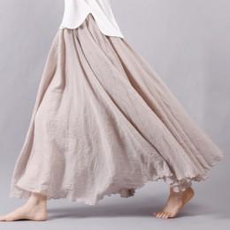 Modna plisowana lniana długa spódnica do kostek przewiewna elegancka maxi styl boho kolor różowy żółty fioletowy