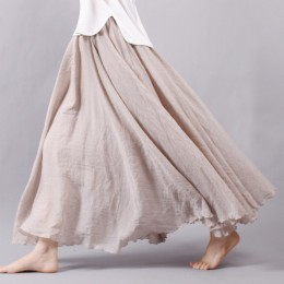 Sherhure 2019 kobiety lniane bawełniane długie spódnice w pasie plisowane długie spódnice plaża Boho Vintage letnie spódnice Fal