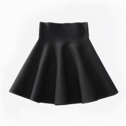 2019 wiosna jesień nowy kobiety spódnica Knitting wełniane spódnica trzy czwarte panie wysokiej talii na co dzień plisowana elas