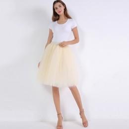 5 warstw 60 cm księżniczka Midi Tulle spódnica plisowana taniec spódnice Tutu kobiet Lolita halka jupiter Saia faldas Denim Part