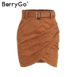BerryGo wysokiej talii pas zamsz skórzana spódnica kobiet jesień zima nieregularne bodycon mini spódnica Sexy streetwear kobiety