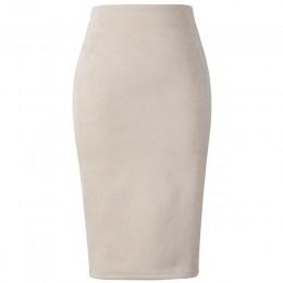 Neophil 2019 zima kobiety Suede Midi spódnica ołówkowa wysoka talia szary różowy XXL seksowny styl Stretch Wrap panie urząd prac