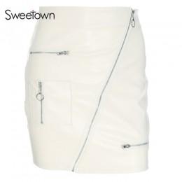 Sweetown biały koreański styl spódnice damskie ulicy styl linii spódnica lato 2018 wysokiej talii Vogue Steampunk skórzana krótk