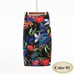 Moda wiosna lato styl spódnica ołówkowa kobiet wysokiej talii zielone spódnice w stylu Vintage elegancki Bodycon kwiatowy Print