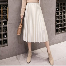 2018 jesień zima aksamitna spódnica wysokiej zwężone Skinny duża huśtawka długie plisowane spódnice metaliczny 18 kolory Plus ro