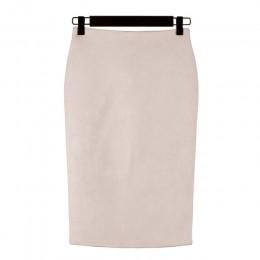 Kobiety spódnice zamszowe stałe spódnica ołówkowa kobieta jesień zima wysoka talia Bodycon w stylu Vintage podział grube elastyc