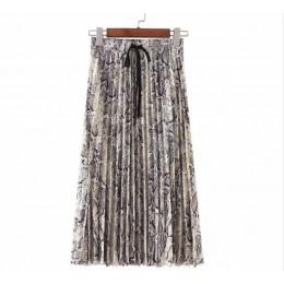 Vadim kobiety stylowe leopard drukuj plisowana spódnica wąż faldas mujer sznurkiem krawat w pasie na co dzień w połowie łydki sp