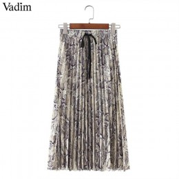 Vadim kobiety stylowy wąż drukuj plisowana spódnica faldas mujer sznurkiem krawat w pasie panie na co dzień w połowie łydki spód