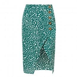 Conmoto wysoka talia podziel Midi spódnice kobiety przycisk zielony Leopard Dot druku na co dzień elegancki lato spódnica Sexy w