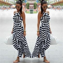 Modna długa zwiewna sukienka damska do kostek letnia wąska góra rozszerzany dół spódnicy wiązana w talii geometryczne wzory