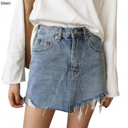 EXOTAO letnie dżinsy spódnica kobiety wysoka talia jupiter spódnice dżinsowe z nieregularną krawędzią kobiet Mini Saia myte Fald