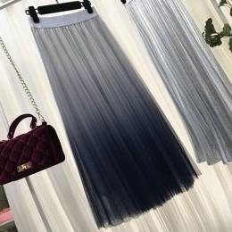 Gogoyouth długi Tulle spódnica kobiet 2019 wiosna lato gradientu koreański elegancki wysoka talia linia plisowana szkoła spódnic