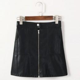 2019 jesień zima kobiety spódnica PU skóra Sexy Mini spódnica z kieszeniami na zamek błyskawiczny-line pakiet Hip wysokiej talii