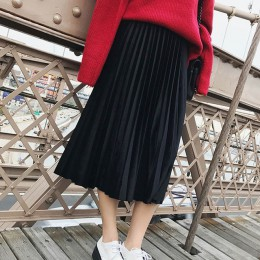 2019 nowa wiosna jesień zima wysokiej zwężone chudy kobiet aksamitna spódnica plisowana spódnica plisowana spódnica darmowa wysy