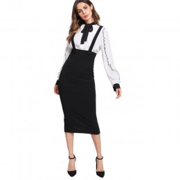 Sheinside wysokiej talia szczelina powrót spódnica ołówkowa z paskiem czarny kolano długość zwykły zamek spódnica kobiety elegan