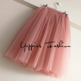 Streetwear 5 warstwy 65 cm Midi plisowana spódnica kobiety Gothic wysokiej talii Tulle Skater spódnica rokjes dames ropa mujer 2