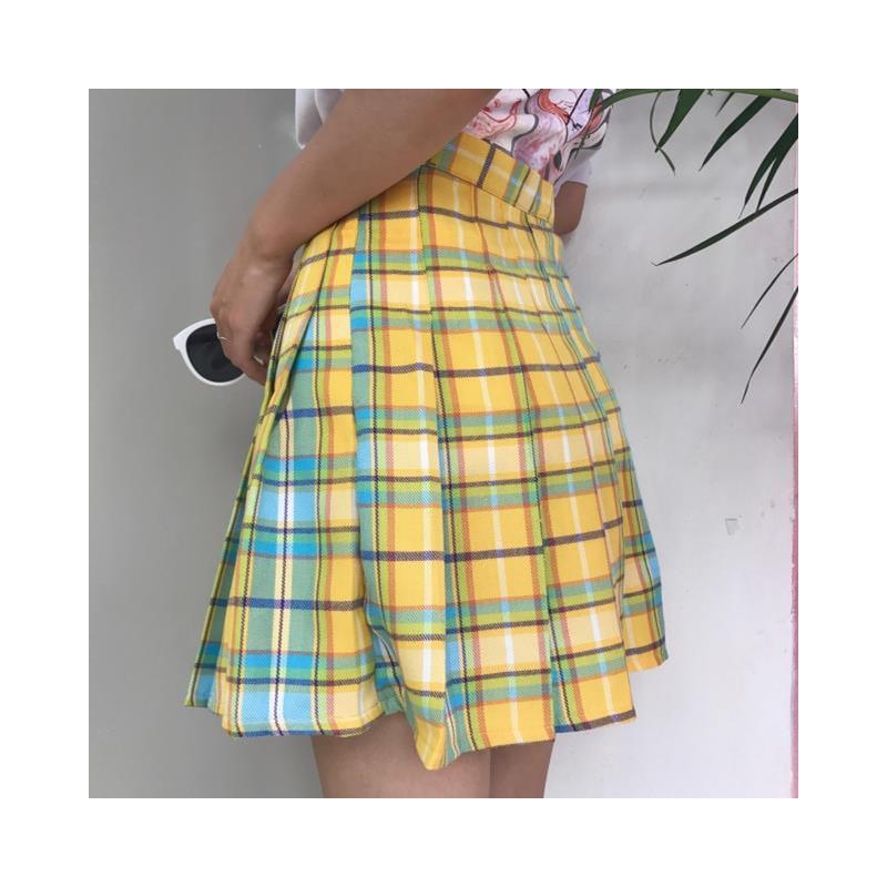 Modna plisowana mini spódnica z wysokim stanem damska