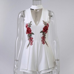 Conmoto lato elegancki V Neck Floral kobiety Playsuit bez rękawów biały kombinezony pajacyki Casual plaża ogólnie haft Plus rozm
