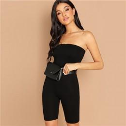 SweatyRocks czarny Skinny brokat bez ramiączek Romper bez rękawów Streetwear kobiet 2019 kobiety Bodycon kombinezony i kombinezo