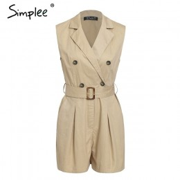 Simplee elegancki wstęgi khaki bawełna kobiety playsuit lato kieszenie przycisk zamek pajacyki krótki kombinezon biuro panie kom