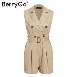 BerryGo kobiety pajacyki elegancki wstęgi khaki playsuit lato kobiet kombinezon biuro panie playsuit kieszenie przycisk zipper p