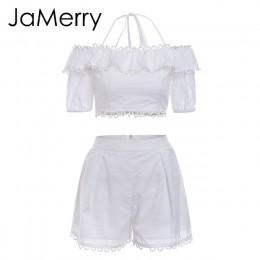 JaMerry w stylu Vintage off ramię biały haft dwuczęściowy zestaw romper kobiety polka dot kombinezon playsuit letnie wakacje na