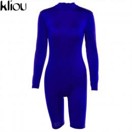 Kliou kobiet moda Royal blue, z pełnym rękawem, z golfem, kombinezony 2018 jesień kobiet skinny sexy trening ulicy pajacyki komb