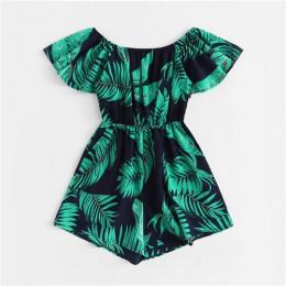 ROMWE tropikalnych Off ramię liść drukuj Romper kobiet lato Off the Shoulder z krótkim rękawem wysoka talia szerokie nogi, w któ
