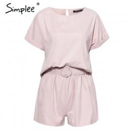 Damski kombinezon krótki zwiewny oversize krótkie spodenki krótki rękaw z paskiem różowy luźny