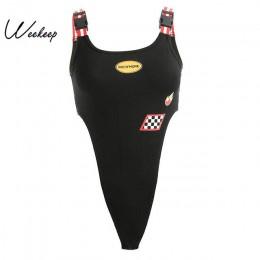 Weekeep kobiety czarny wysoka talia kostium kąpielowy z wycięciami Sexy Plaid Patchwork Bodycon zbiornik body regulowany pasek R