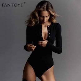 Fantoye Sexy z długim rękawem body kobiety 2018 jesień zima czarny Slim Bodycon kombinezony pajacyki panie rozciągliwy body topy