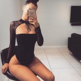 Kobiety Mesh przezroczysta Halter Sexy body kobiety z długim rękawem Lace Up damskie kombinezon czarny body