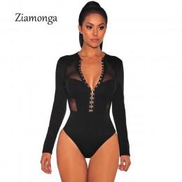 Ziamonga moda projekt przycięte Mesh Patchwork z długim rękawem czarny Bodycon Playsuit przycisk hak unikalny projekt kobiety Se